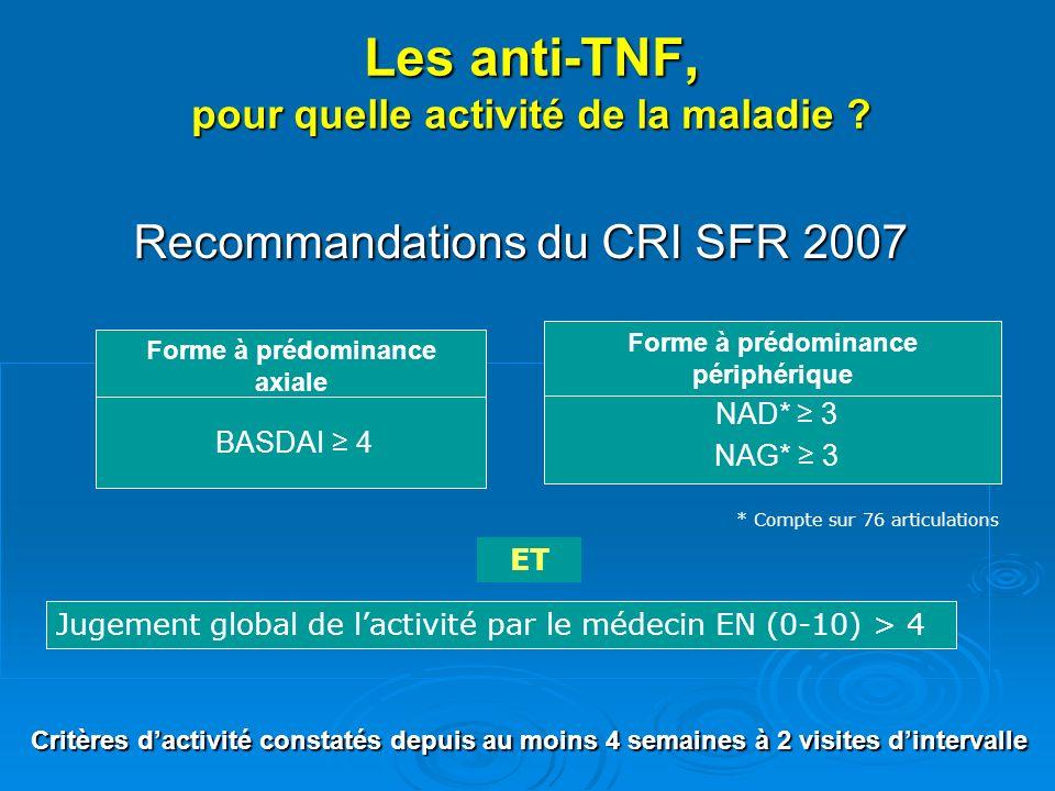 Les anti-TNF, pour quelle activité de la maladie ? Recommandations du CRI SFR 2007 NAD* 3 NAG* 3 Forme à prédominance périphérique Jugement global de