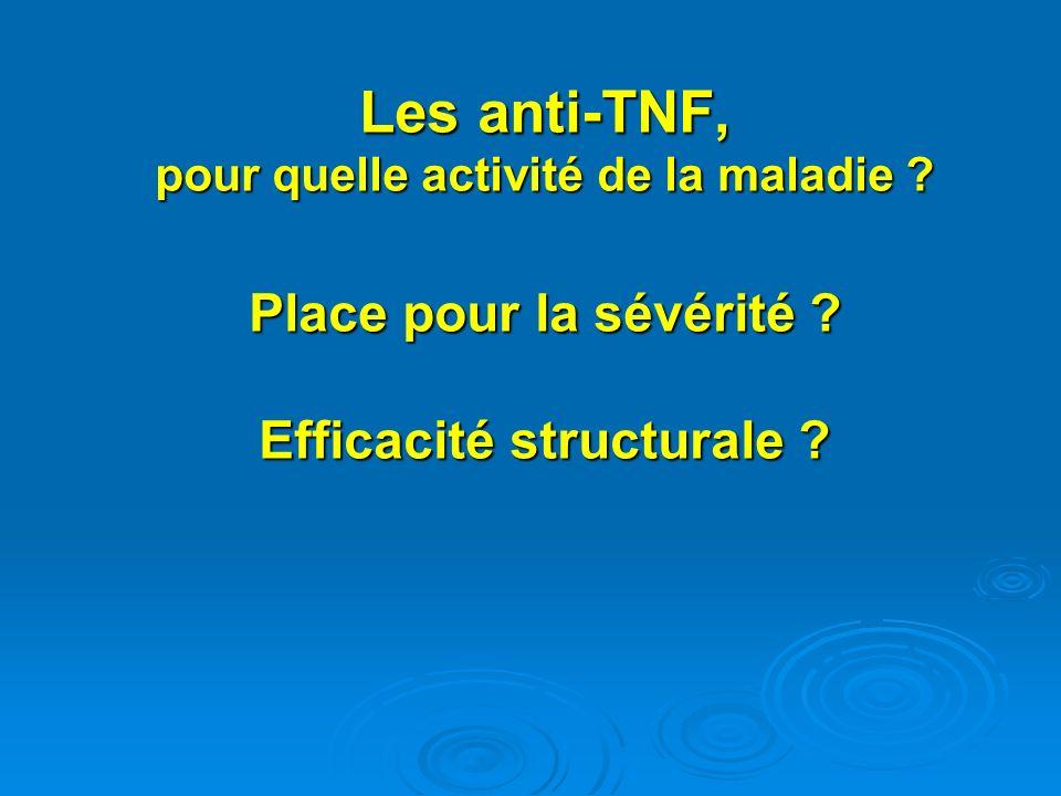 Les anti-TNF, pour quelle activité de la maladie ? Place pour la sévérité ? Efficacité structurale ?