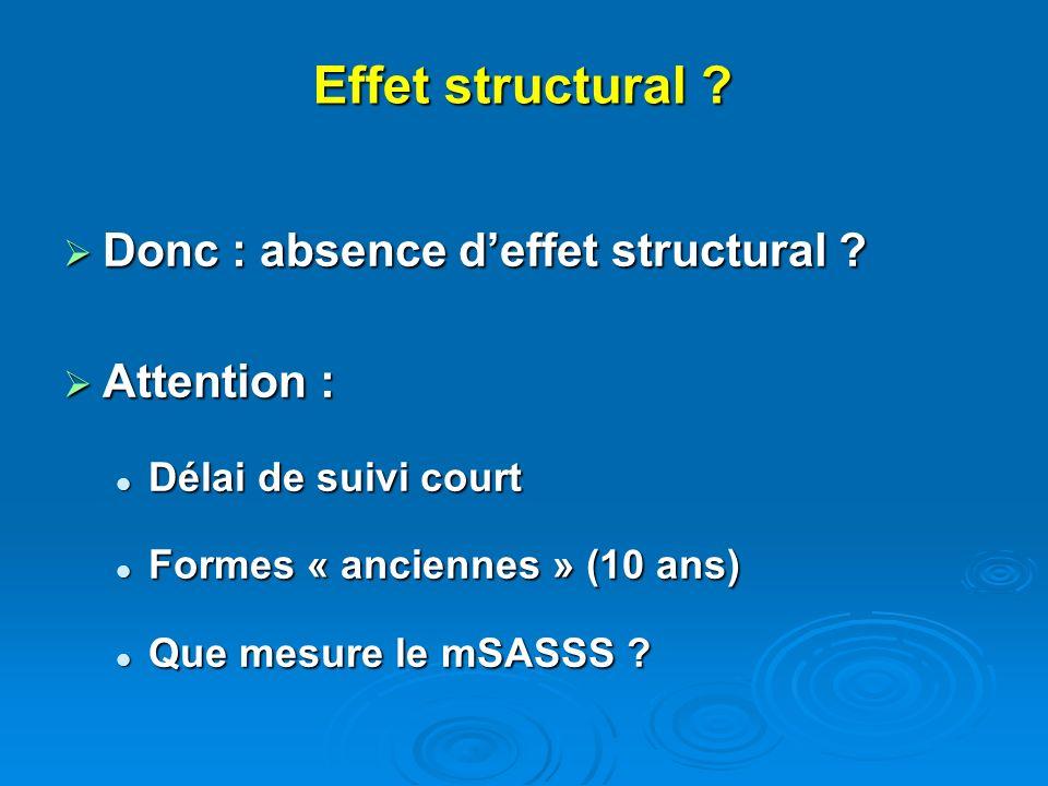 Effet structural ? Donc : absence deffet structural ? Donc : absence deffet structural ? Attention : Attention : Délai de suivi court Délai de suivi c