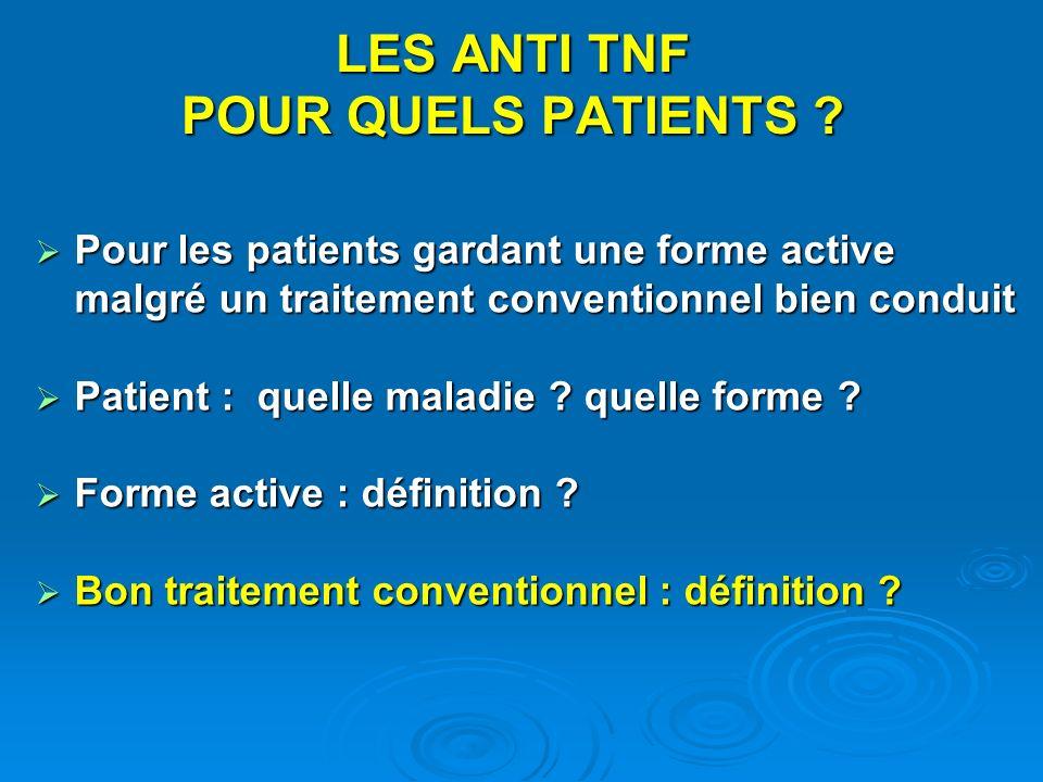 Pour les patients gardant une forme active malgré un traitement conventionnel bien conduit Pour les patients gardant une forme active malgré un traite