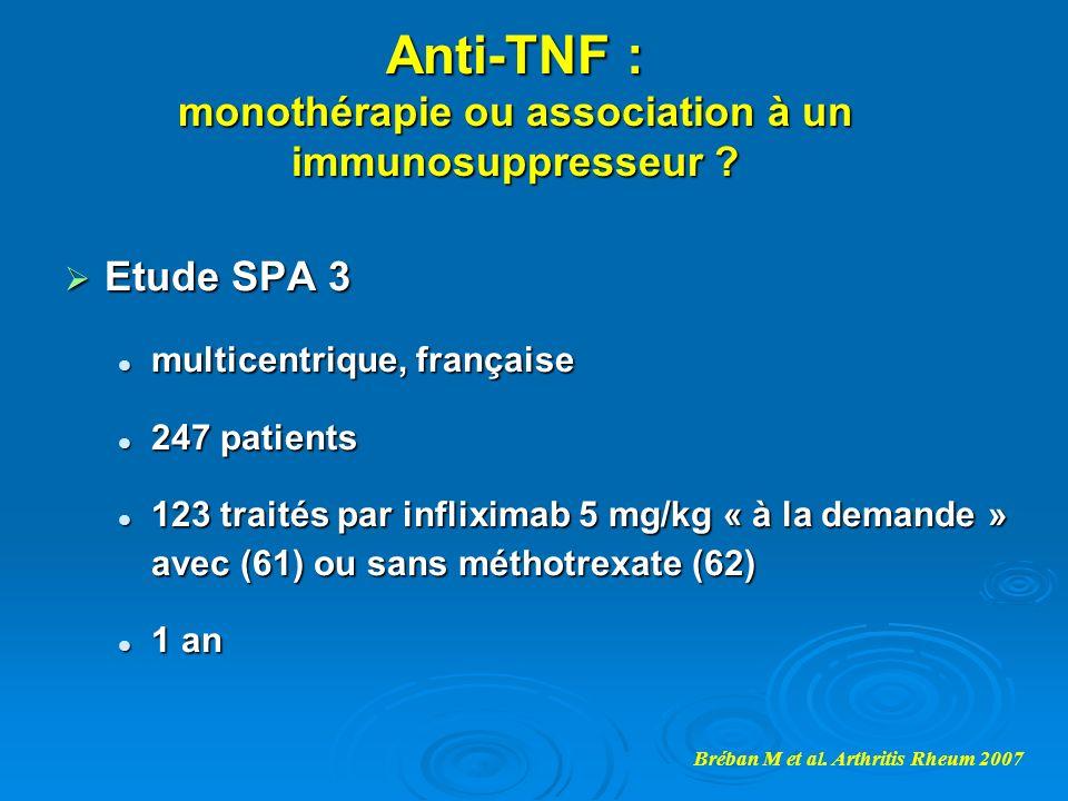 Anti-TNF : monothérapie ou association à un immunosuppresseur ? Etude SPA 3 Etude SPA 3 multicentrique, française multicentrique, française 247 patien