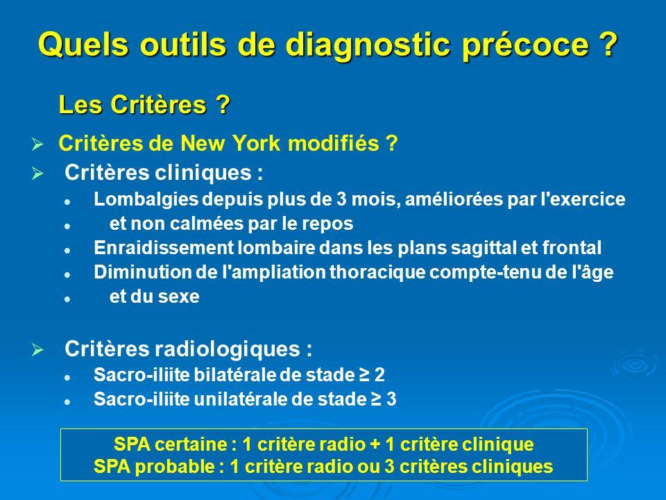 Les Critères ? Critères de New York modifiés ? Critères cliniques : Lombalgies depuis plus de 3 mois, améliorées par l'exercice et non calmées par le