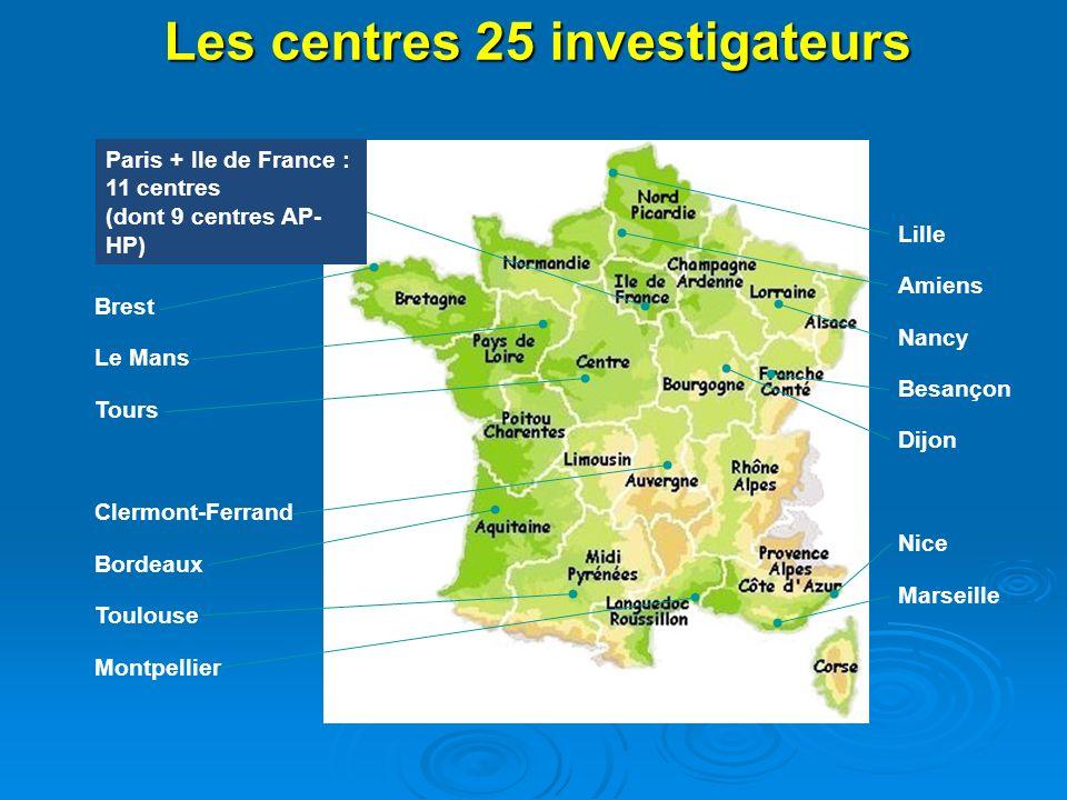 Brest Le Mans Tours Clermont-Ferrand Bordeaux Toulouse Montpellier Lille Amiens Nancy Besançon Dijon Nice Marseille Les centres 25 investigateurs Pari