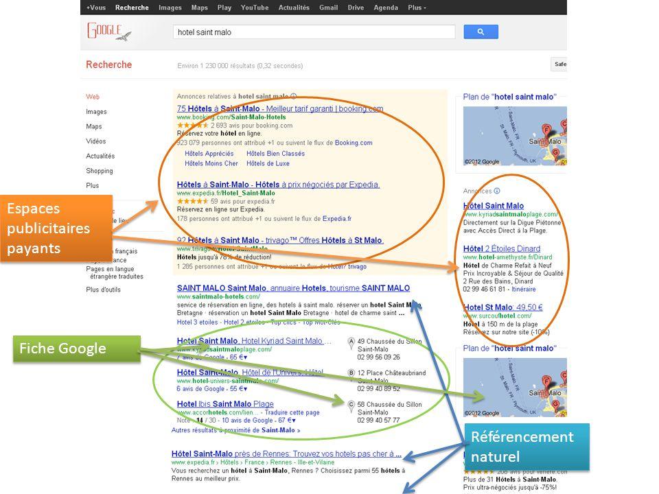 Espaces publicitaires payants Fiche Google Référencement naturel