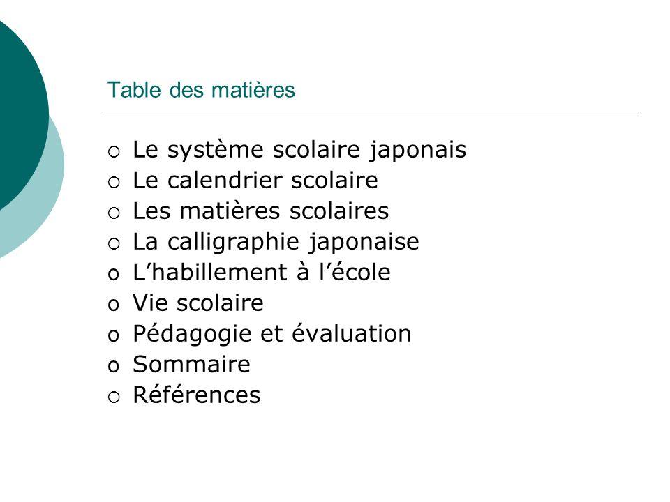 Table des matières Le système scolaire japonais Le calendrier scolaire Les matières scolaires La calligraphie japonaise oLoLhabillement à lécole oVoVi