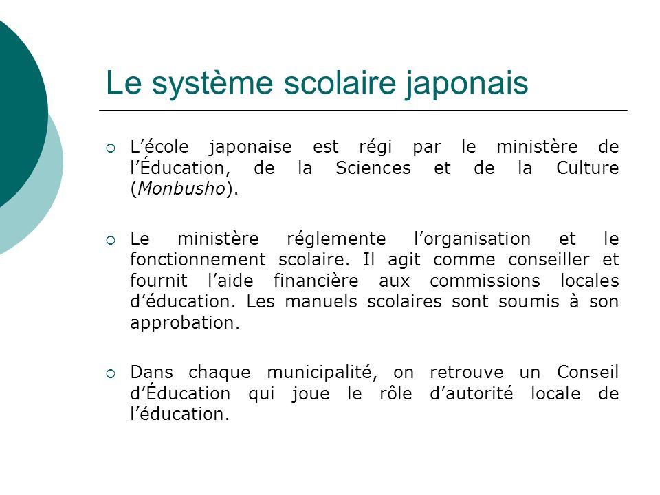 Le système scolaire japonais Lécole japonaise est régi par le ministère de lÉducation, de la Sciences et de la Culture (Monbusho). Le ministère réglem