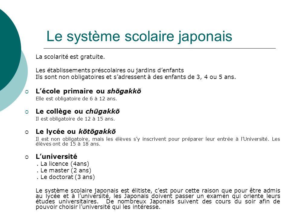 Le système scolaire japonais La scolarité est gratuite. Les établissements préscolaires ou jardins denfants Ils sont non obligatoires et sadressent à