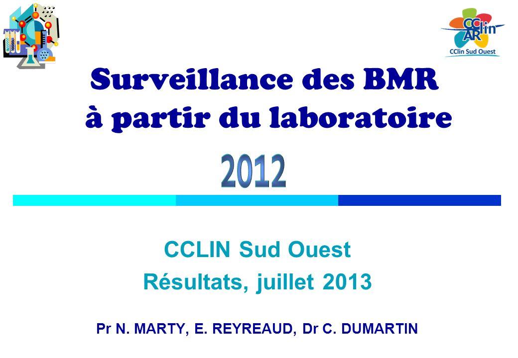 Objectif recueil dindicateurs dincidence des principales BMR : Staphylococcus aureus résistant à la méticilline (SARM) et entérobactéries produisant des betalactamases à spectre étendu (EBLSE) contribution à lévaluation de limpact du programme de maîtrise de la diffusion des BMR (local, régional et national) Méthode hospitalisés au moins 24 h prélèvement à visée diagnostique, élimination des doublons (ONERBA) méthodologie nationale BMR-RAISIN : surveillance davril à juin.