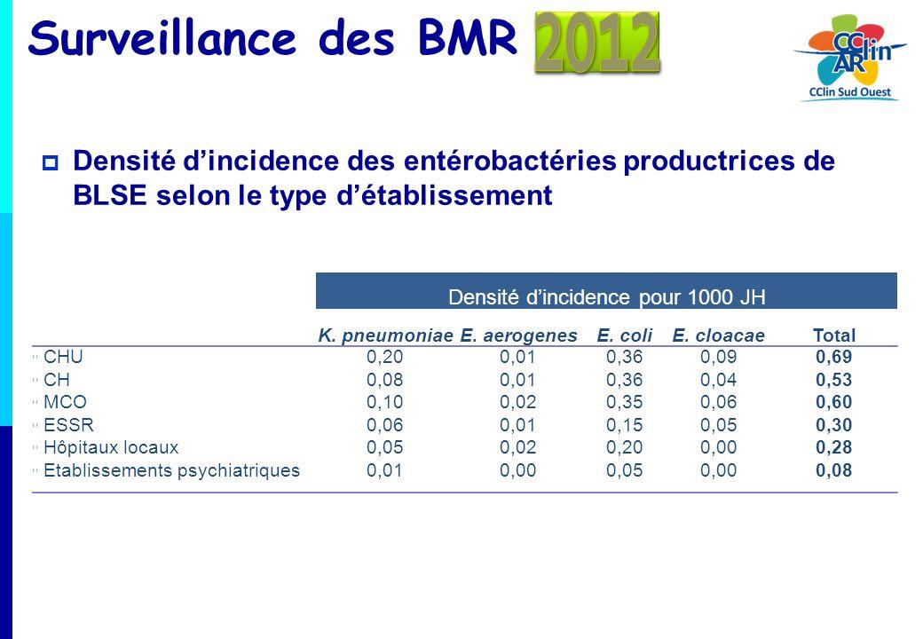 Surveillance des BMR Densité dincidence des entérobactéries productrices de BLSE selon le type détablissement Densité dincidence pour 1000 JH K. pneum