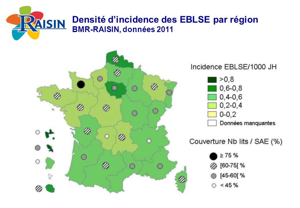 Densité dincidence des EBLSE par région BMR-RAISIN, données 2011