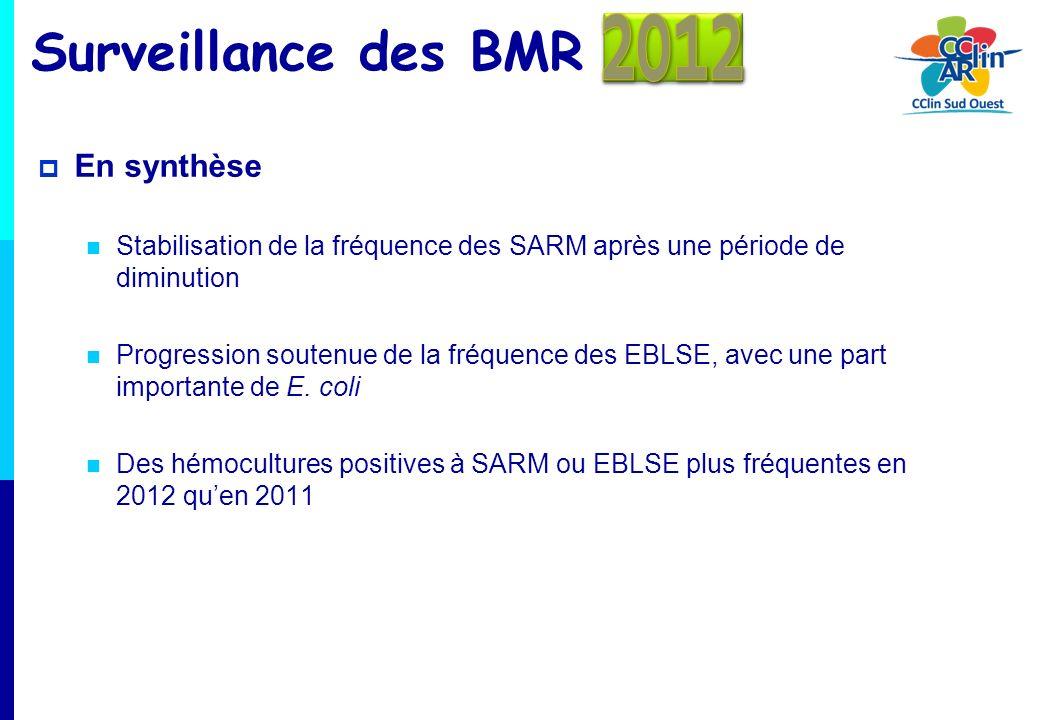 Surveillance des BMR En synthèse Stabilisation de la fréquence des SARM après une période de diminution Progression soutenue de la fréquence des EBLSE