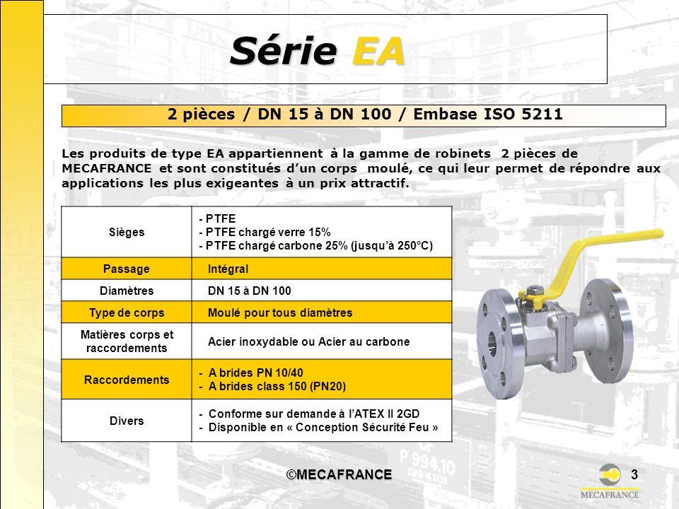 ©MECAFRANCE3 Série EA 2 pièces / DN 15 à DN 100 / Embase ISO 5211 Les produits de type EA appartiennent à la gamme de robinets 2 pièces de MECAFRANCE et sont constitués dun corps moulé, ce qui leur permet de répondre aux applications les plus exigeantes à un prix attractif.