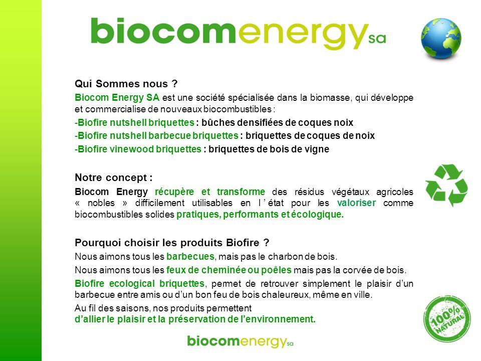 Qui Sommes nous ? Biocom Energy SA est une société spécialisée dans la biomasse, qui développe et commercialise de nouveaux biocombustibles : -Biofire