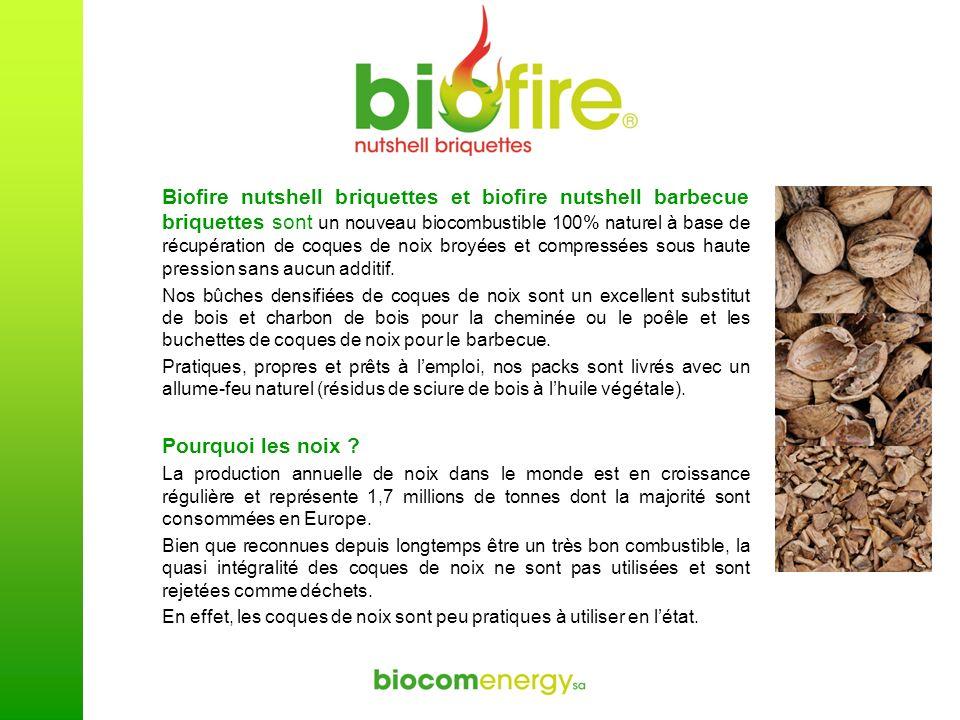 Biofire nutshell briquettes et biofire nutshell barbecue briquettes sont un nouveau biocombustible 100% naturel à base de récupération de coques de no