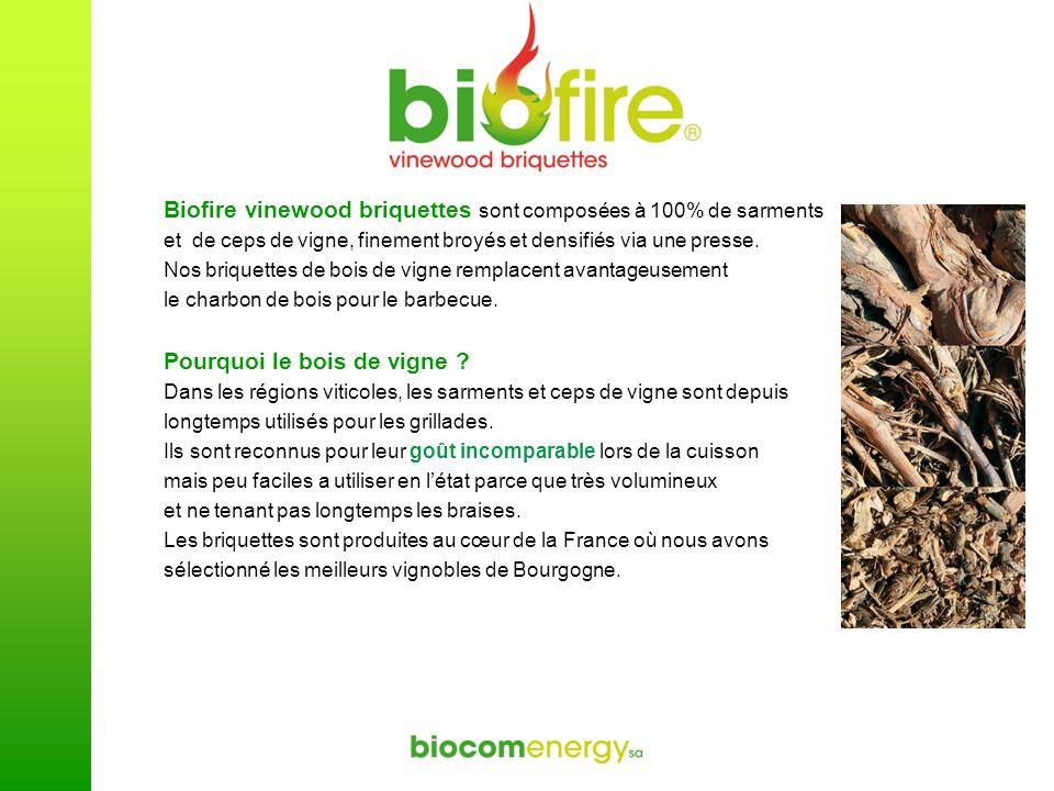 Biofire vinewood briquettes sont composées à 100% de sarments et de ceps de vigne, finement broyés et densifiés via une presse. Nos briquettes de bois