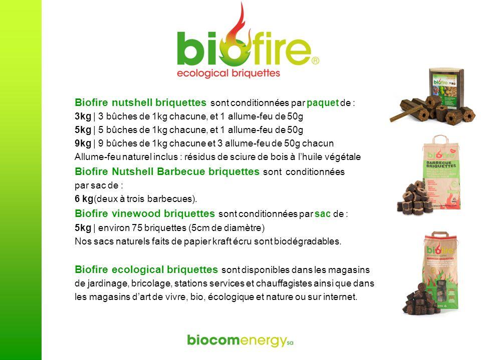 Biofire nutshell briquettes sont conditionnées par paquet de : 3kg | 3 bûches de 1kg chacune, et 1 allume-feu de 50g 5kg | 5 bûches de 1kg chacune, et
