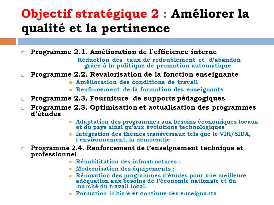 Objectif stratégique 2 : Améliorer la qualité et la pertinence Programme 2.1. Amélioration de lefficience interne Réduction des taux de redoublement e