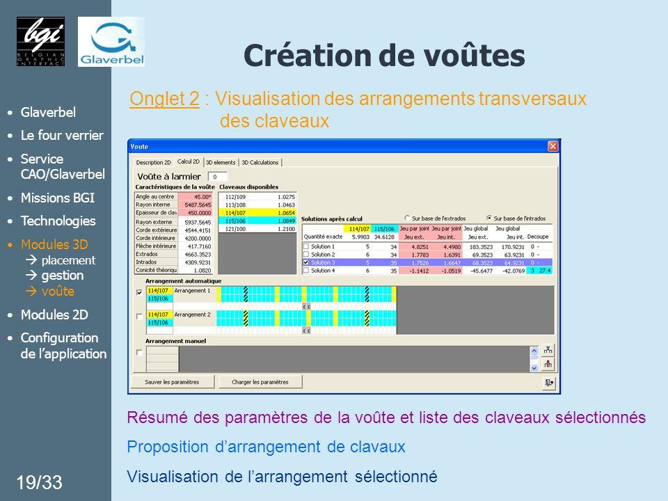 Création de voûtes Onglet 2 : Visualisation des arrangements transversaux des claveaux 19/33 Glaverbel Le four verrier Service CAO/Glaverbel Missions