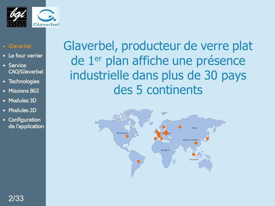 Glaverbel Le four verrier Service CAO/Glaverbel Missions BGI Technologies Modules 3D Modules 2D Configuration de lapplication Pour plus dinformations BGI Eric Vandevoorde Rue Vandergoten, 4 1160 Bruxelles Tél.