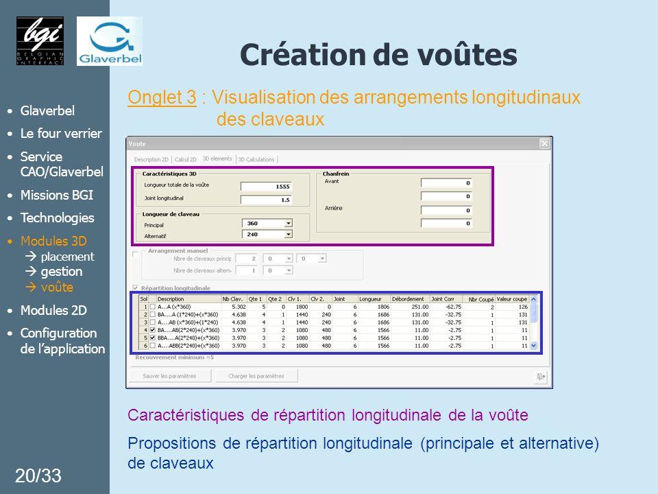Création de voûtes 20/33 Glaverbel Le four verrier Service CAO/Glaverbel Missions BGI Technologies Modules 3D placement gestion voûte Modules 2D Confi