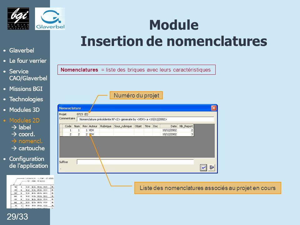 Module Insertion de nomenclatures Liste des nomenclatures associés au projet en cours Numéro du projet Nomenclatures = liste des briques avec leurs ca