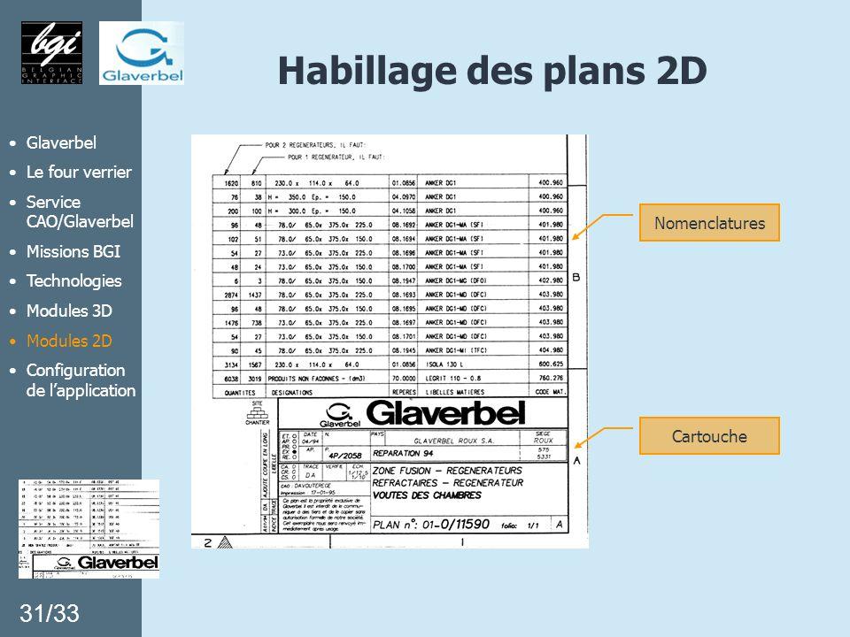Glaverbel Le four verrier Service CAO/Glaverbel Missions BGI Technologies Modules 3D Modules 2D Configuration de lapplication Habillage des plans 2D N