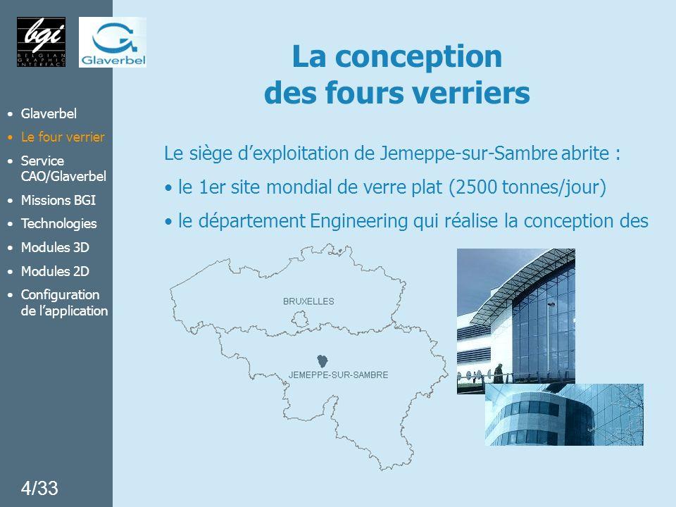La conception des fours verriers Le siège dexploitation de Jemeppe-sur-Sambre abrite : le 1er site mondial de verre plat (2500 tonnes/jour) le départe