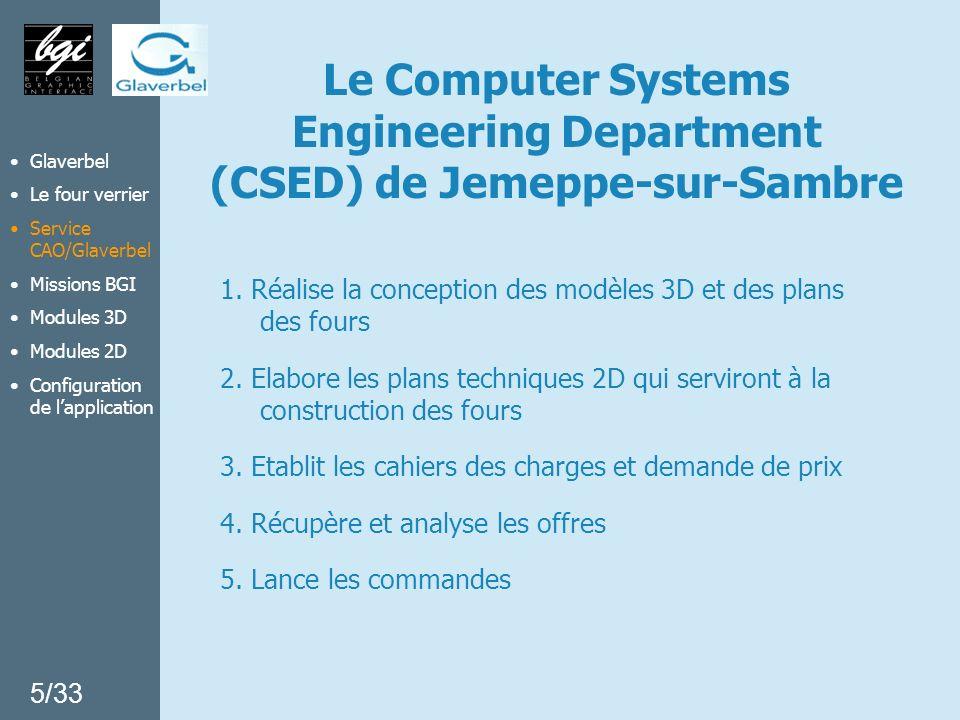 Glaverbel Le four verrier Service CAO/Glaverbel Missions BGI Modules 3D Modules 2D Configuration de lapplication 6/33 Base de données REFRACTAIRES PLAN 1 PLAN 2 PLAN 3 …..