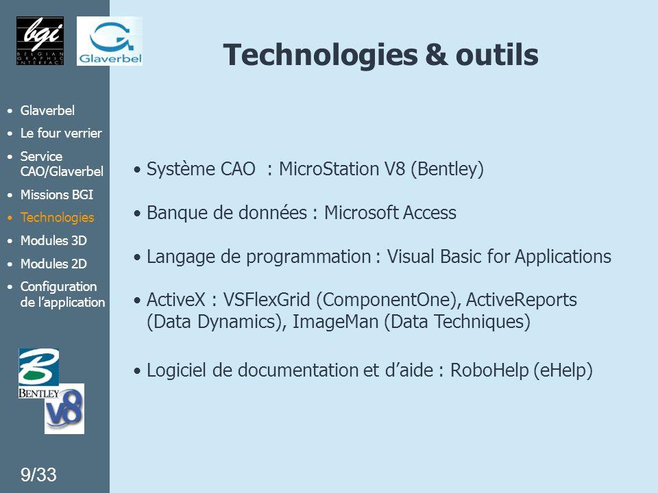 Technologies & outils Système CAO : MicroStation V8 (Bentley) Banque de données : Microsoft Access Langage de programmation : Visual Basic for Applica