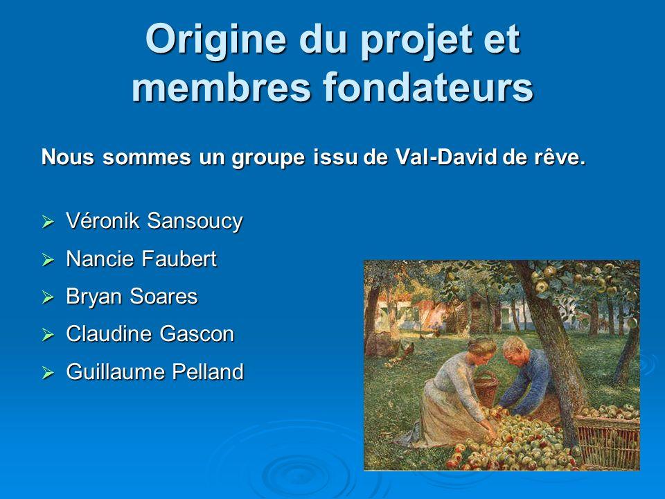 Origine du projet et membres fondateurs Nous sommes un groupe issu de Val-David de rêve. Véronik Sansoucy Véronik Sansoucy Nancie Faubert Nancie Faube