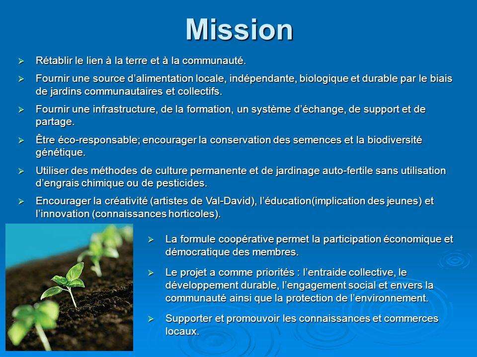 Mission La formule coopérative permet la participation économique et démocratique des membres. La formule coopérative permet la participation économiq