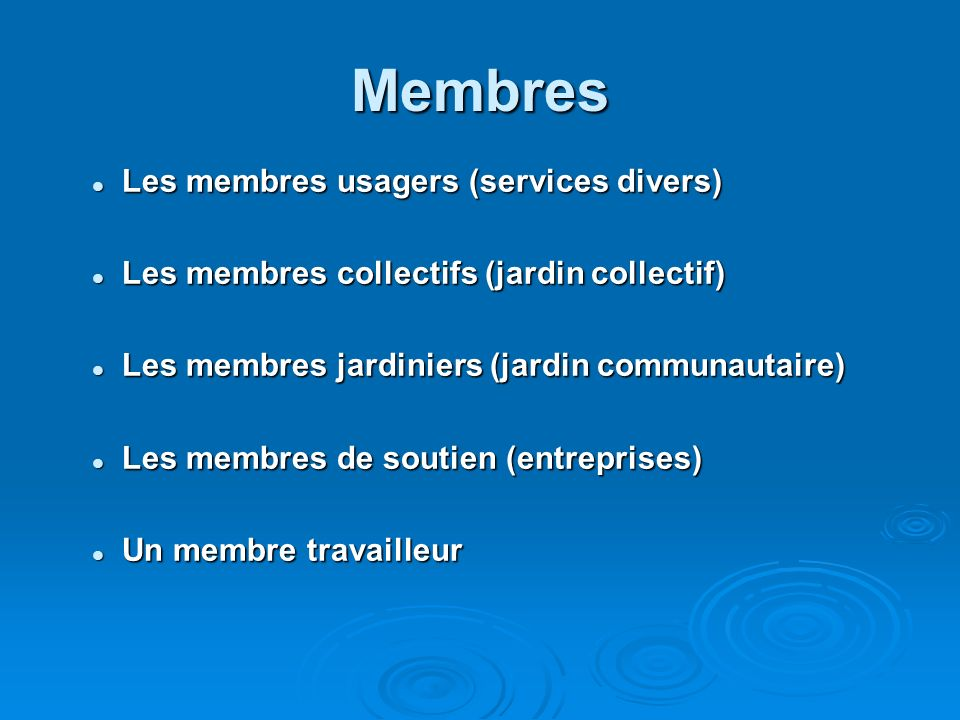 Membres Les membres usagers (services divers) Les membres usagers (services divers) Les membres collectifs (jardin collectif) Les membres collectifs (