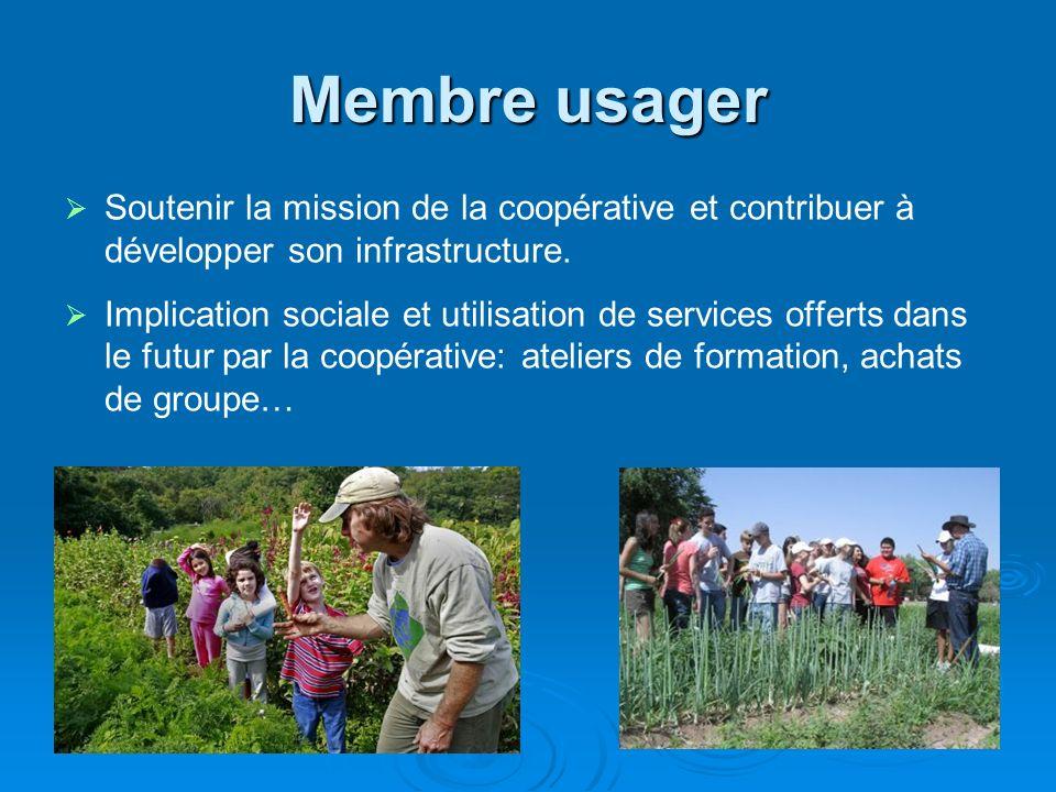 Membre usager Soutenir la mission de la coopérative et contribuer à développer son infrastructure. Implication sociale et utilisation de services offe