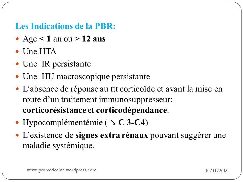 10/11/2013 15 Les Indications de la PBR: Age 12 ans Une HTA Une IR persistante Une HU macroscopique persistante Labsence de réponse au ttt corticoïde