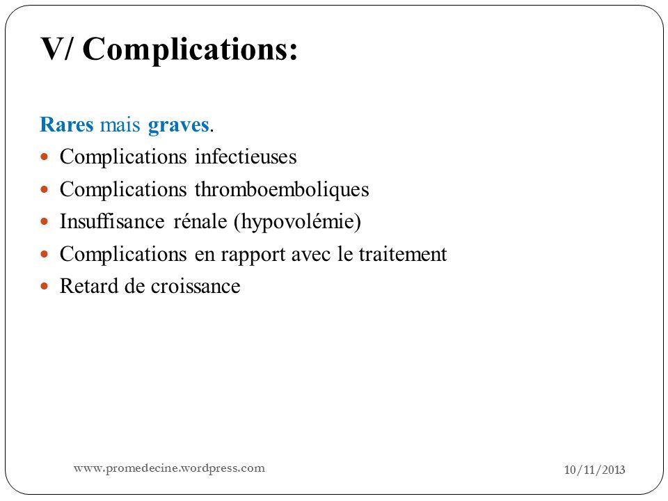 V/ Complications: 10/11/2013 16 Rares mais graves. Complications infectieuses Complications thromboemboliques Insuffisance rénale (hypovolémie) Compli