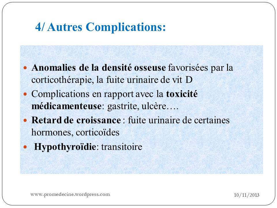 10/11/2013 20 Anomalies de la densité osseuse favorisées par la corticothérapie, la fuite urinaire de vit D Complications en rapport avec la toxicité