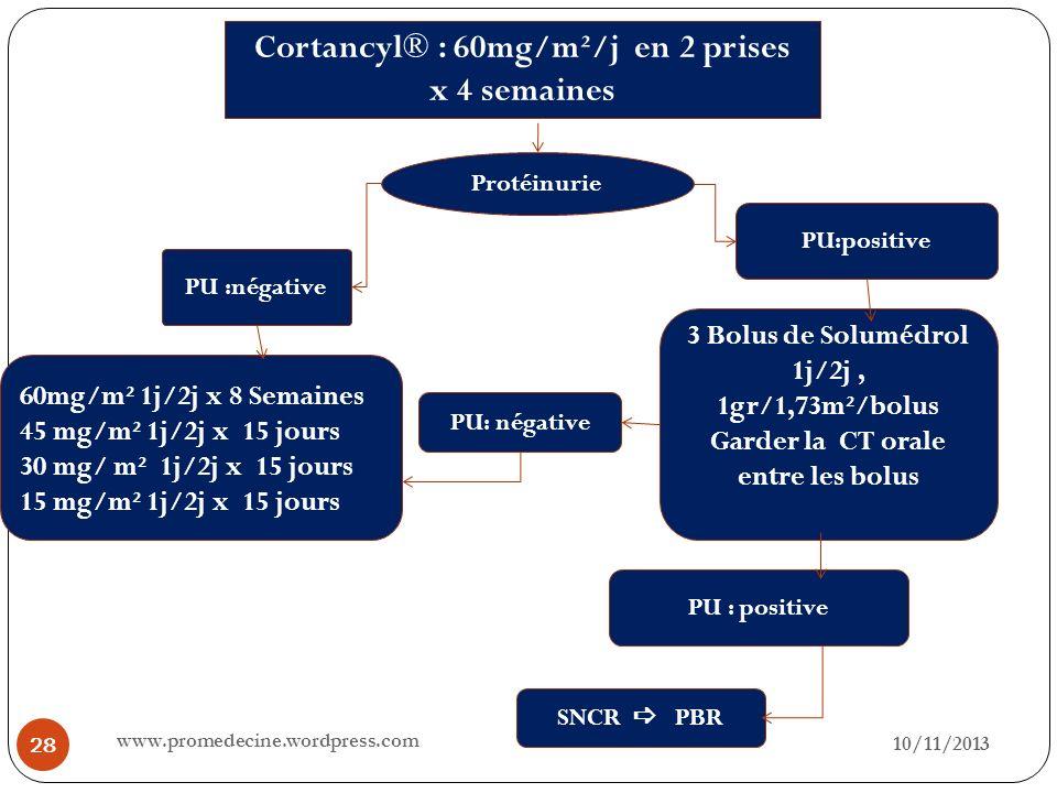 10/11/2013 28 Cortancyl® : 60mg/m²/j en 2 prises x 4 semaines Protéinurie PU :négative PU:positive 3 Bolus de Solumédrol 1j/2j, 1gr/1,73m²/bolus Garde