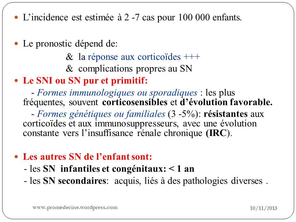 10/11/2013 14 3/ Histologie: Histologie du SN idiopathique : 3 aspects sont possibles: Lésions glomérulaires minimes: LGM: (80 %) Microscopie optique: glomérules normaux Immunofluorescence: pas de dépôts ou petits dépôts dIgM Microscopie électronique: Fusion des pieds des podocytes Hyalinose segmentaire et focale: HSF (10%) M.O: dépôt daspect hyalin sous lendothélium des parois capillaires I F: dépôt dIgM et du complément.