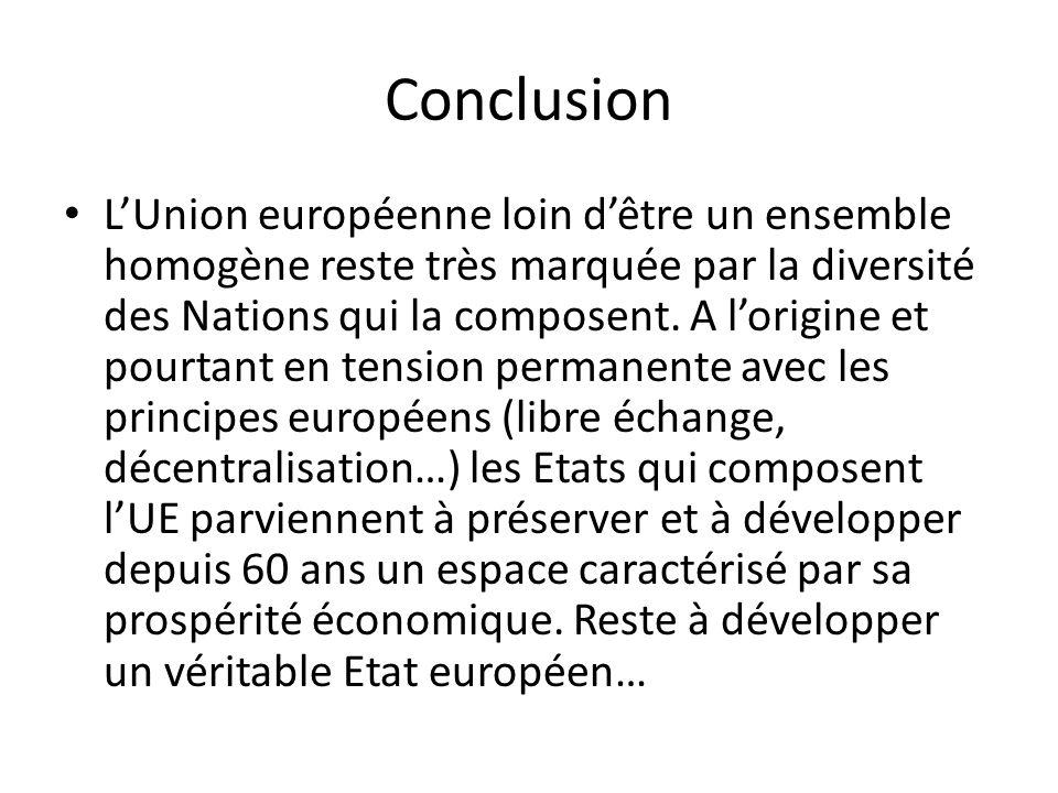 Conclusion LUnion européenne loin dêtre un ensemble homogène reste très marquée par la diversité des Nations qui la composent. A lorigine et pourtant