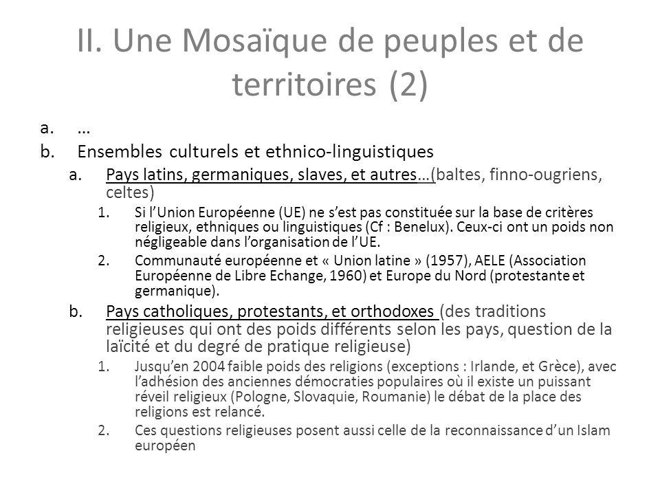 II. Une Mosaïque de peuples et de territoires (2) a.… b.Ensembles culturels et ethnico-linguistiques a.Pays latins, germaniques, slaves, et autres…(ba