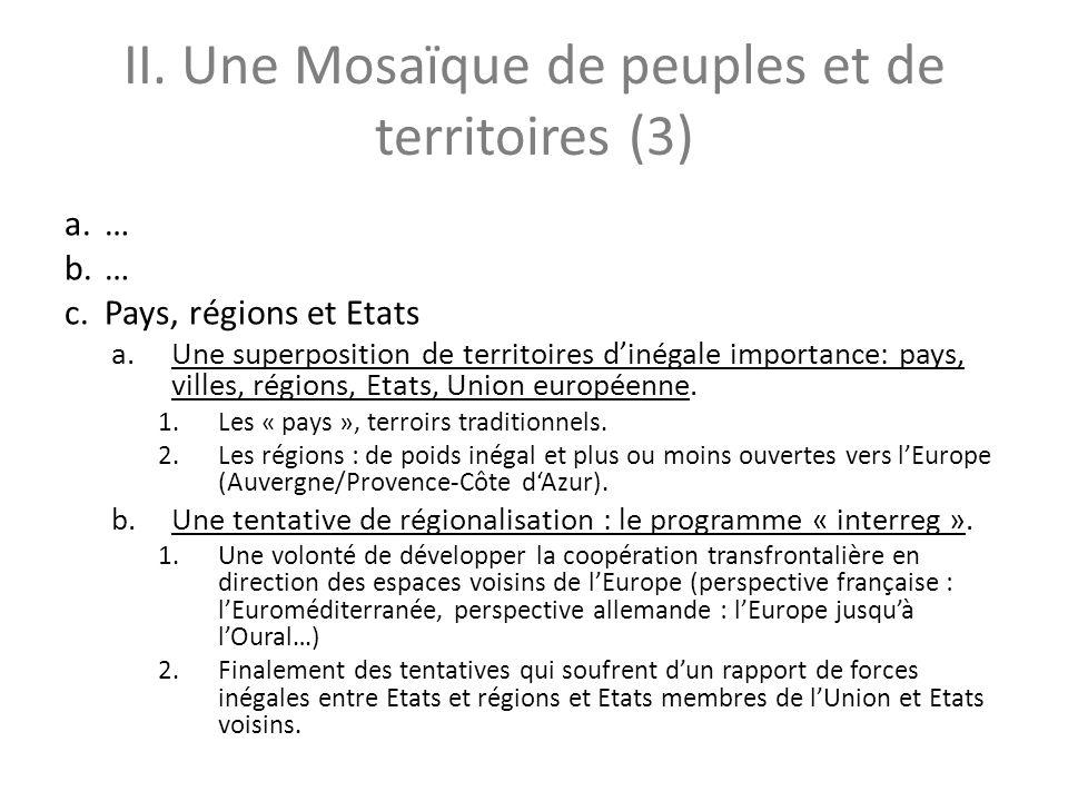 II. Une Mosaïque de peuples et de territoires (3) a.… b.… c.Pays, régions et Etats a.Une superposition de territoires dinégale importance: pays, ville