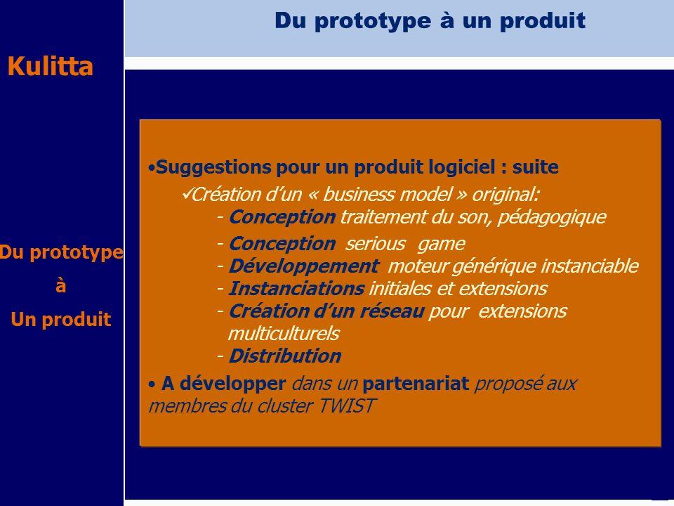 Kulitta IMEP avril 2009 Du prototype à un produit Suggestions pour un produit logiciel : suite Création dun « business model » original: - Conception
