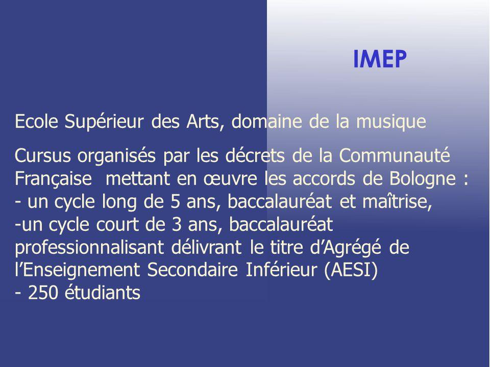 IMEP Ecole Supérieur des Arts, domaine de la musique Cursus organisés par les décrets de la Communauté Française mettant en œuvre les accords de Bolog
