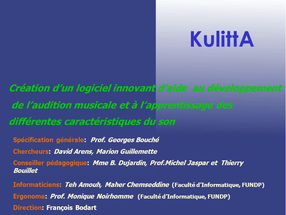 KulittA Création dun logiciel innovant daide au développement de laudition musicale et à lapprentissage des différentes caractéristiques du son Spécif
