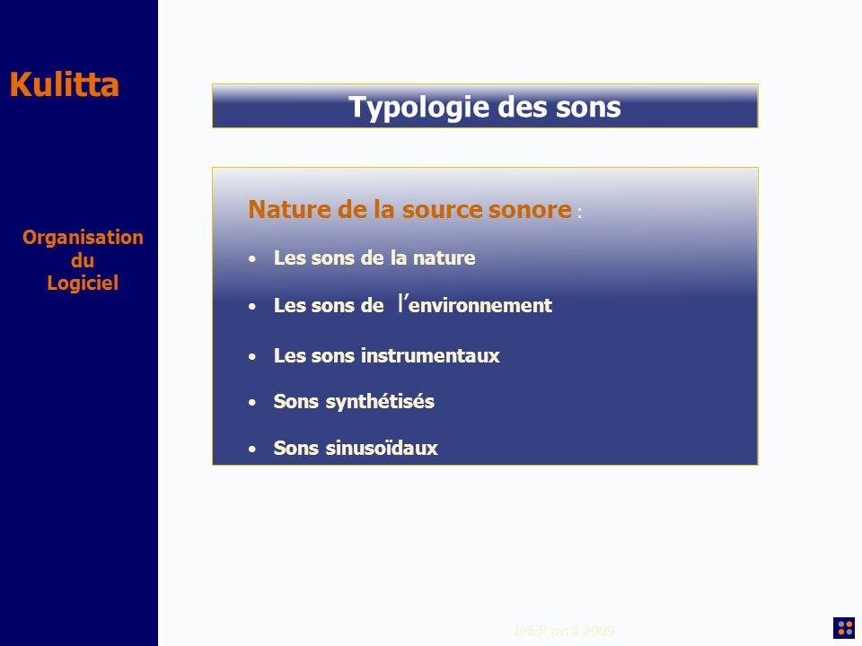 Kulitta IMEP avril 2009 Organisation du Logiciel Typologie des sons Nature de la source sonore : Les sons de la nature Les sons de l environnement Les