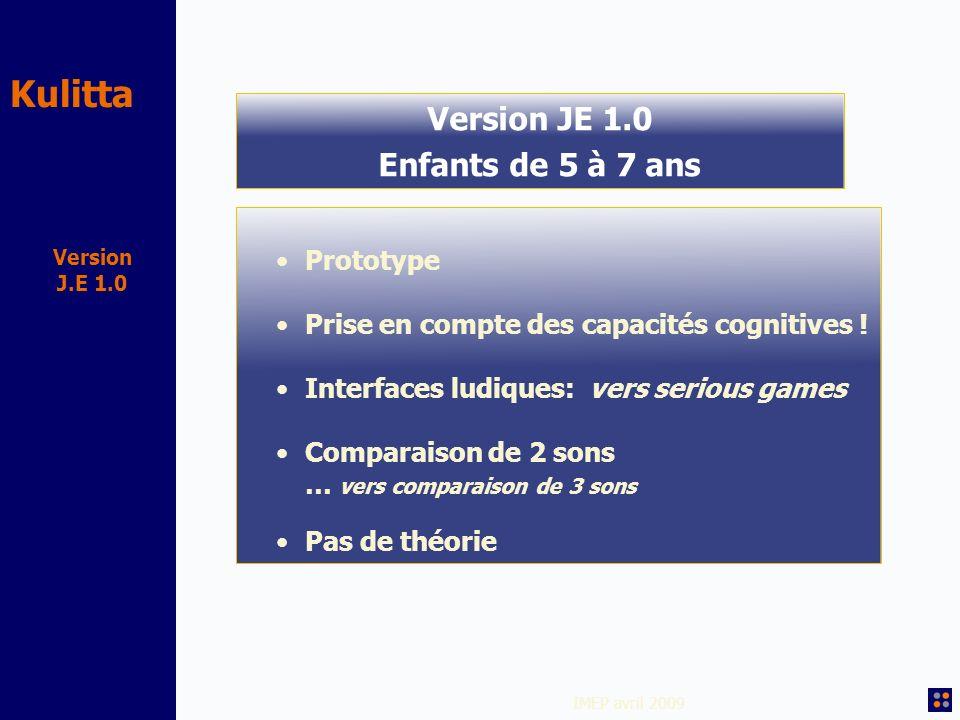 Kulitta IMEP avril 2009 Version J.E 1.0 Version JE 1.0 Enfants de 5 à 7 ans Prototype Prise en compte des capacités cognitives ! Interfaces ludiques: