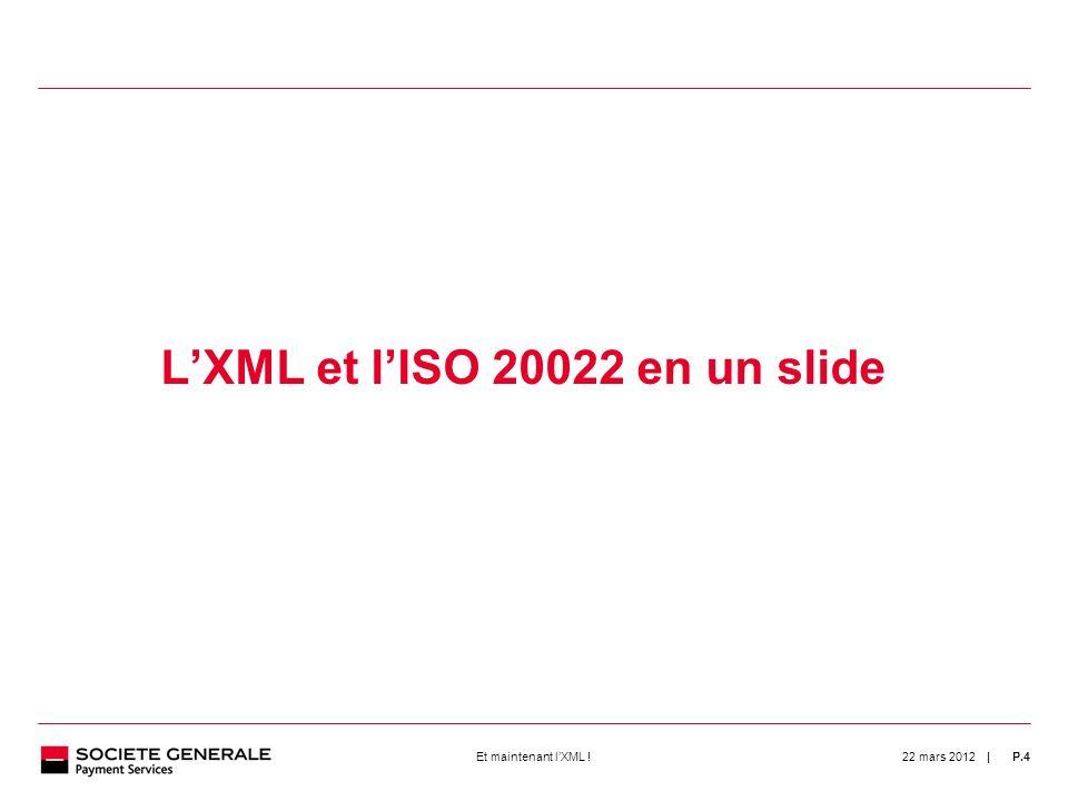 | 22 mars 2012P.4Et maintenant lXML ! 4 LXML et lISO 20022 en un slide