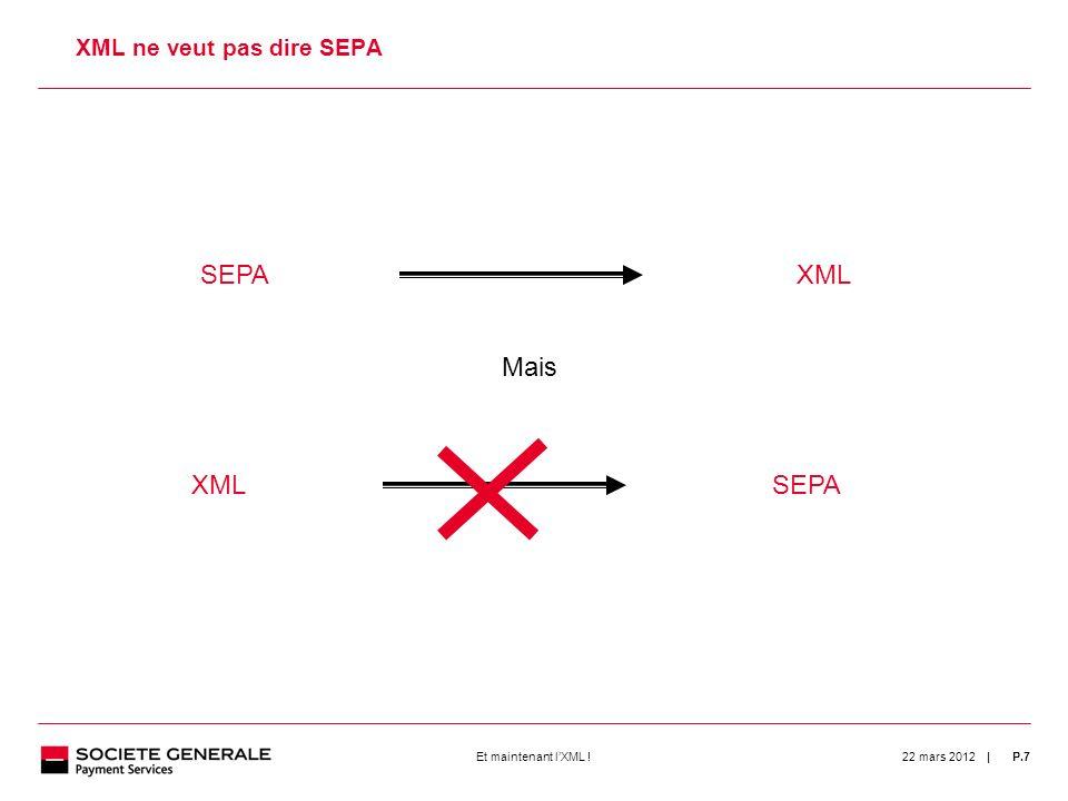 | 22 mars 2012P.7Et maintenant lXML ! 7 XML ne veut pas dire SEPA SEPAXML Mais XMLSEPA