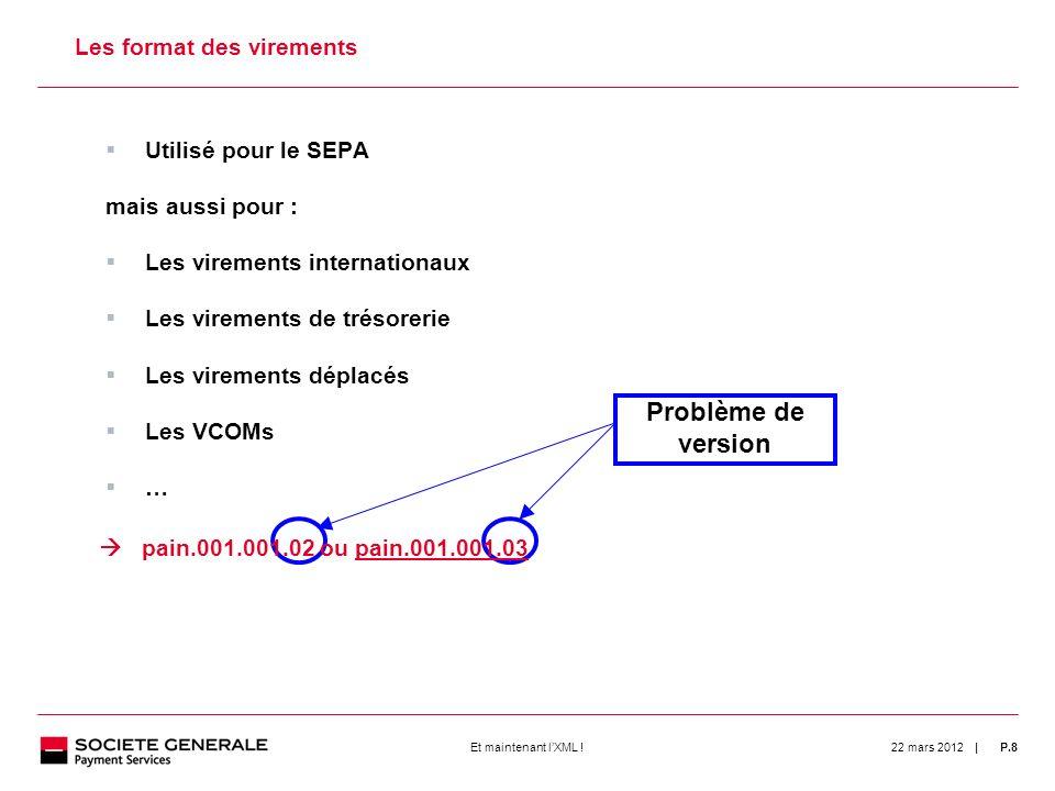 | 22 mars 2012P.8Et maintenant lXML ! 8 Les format des virements Utilisé pour le SEPA mais aussi pour : Les virements internationaux Les virements de