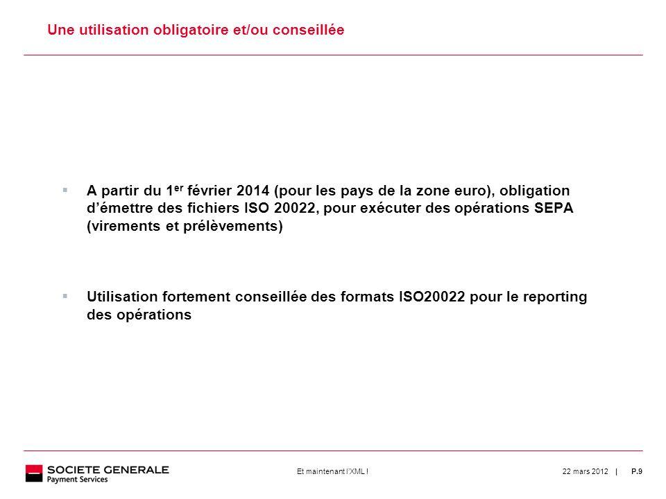 | 22 mars 2012P.9Et maintenant lXML ! 9 Une utilisation obligatoire et/ou conseillée A partir du 1 er février 2014 (pour les pays de la zone euro), ob